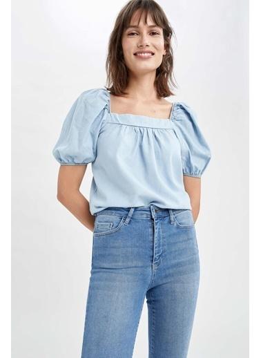 DeFacto Kare Yaka Balon Kollu Tencel Bluz Mavi